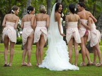 photoshoot of booty-baring bridesmaids