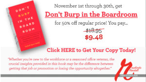 dont burp in the boardroom - book promotion